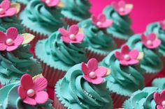 turquoise and hot pink cupcakes