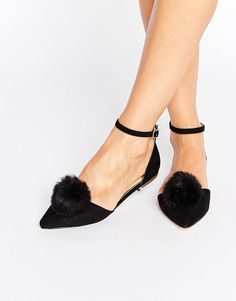 Miss KG Goldie Pom Pom Ankle Strap Point Flat Shoes