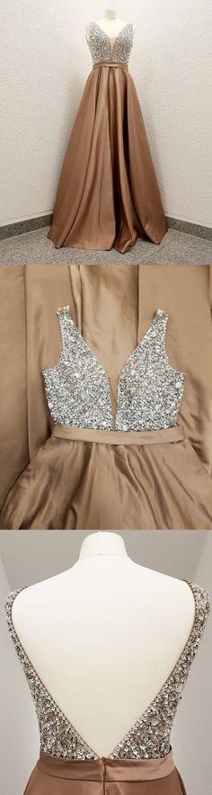 Sparkly Sequins Top Champagne Long Prom Dress, Elegant Evening Dresses