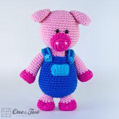 Eddie the Piggy Amigurumi  PDF Crochet Pattern by oneandtwocompany, $4.50