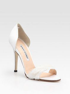 Manolo Blahnik D'Orsay Satin and Feather Pumps, the ultimate #wedding shoes
