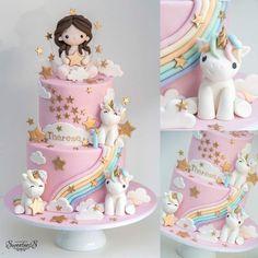 🦄🦄🦄 * Cake inspired by photo client provided 😊 1st Birthday Cake For Girls, Baby Birthday Cakes, Happy Birthday Princess Cake, Princess Theme Cake, Cupcakes, Cupcake Cakes, Chocolate Hazelnut Cake, Unicorn Cake Topper, Unicorn Themed Cake