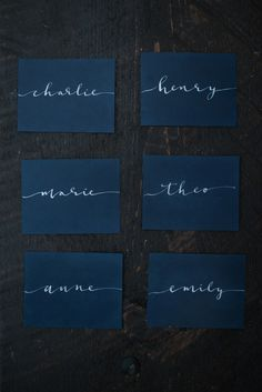 Calligraphy Placecards: Van Gogh Wedding Style Inspiration | Calligraphy by HOOKED Calligraphy |Photo Credit: L&E Photography | Minneapolis MN  | calligraphy, modern calligraphy, blue wedding ideas, moody wedding, dark wedding