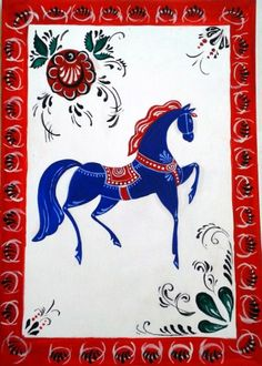 Folk Gorodets painting from Russia. Floral patterns and a horse. Horse Illustration, Russian Folk Art, Ap Studio Art, Quirky Art, Horse Art, Box Art, Traditional Art, Painting Inspiration, Fiber Art