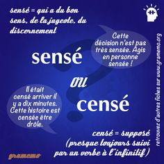 sensé - censé French Language Lessons, French Language Learning, Learn A New Language, French Lessons, How To Teach Grammar, Teaching Grammar, Teaching Tips, French Verbs, French Grammar