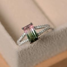 Watermelon tourmaline ring, unique ring, sterling silver