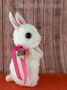 Darling Pompom Easter Bunny by Kira Nichols of Oops I Craft My Pants