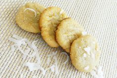 These rich, shortbread-style cookies are made gluten free and dairy free with dried coconut and coconut oil. They're also grain free, wheat free and sugar free and are a great, easy dessert or snack.