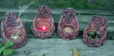 Tales from the Old Wooden Art Table: Making Magic With my Sacred Source Altar Set Diy Clay, Clay Crafts, Clay Candle Holders, Magic Crafts, Wiccan Crafts, Wiccan Decor, Biscuit, Book Of Shadows, Clay Creations