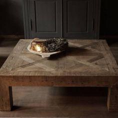 Driftwood houten vierkante salontafel geïnspireerd op oude kasteelvloer.