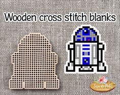 Artoodeetoo Star Wars Brooch or Pendant Set of Wooden Star Wars Pc, R2 D2, Wood Crosses, Pendant Set, Plastic Canvas, Cross Stitching, Magnets, Fiber, Brooch