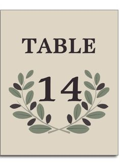 Olive wreath Grecian style beige wedding personalized table number postcard. #olivewreath, #tablenumber, #weddings, #postcards, #Grecian, #beige