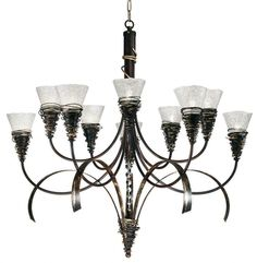 MASCA 10 light chandelier  Cod: 1818/10  Ten light hand-forged iron chandelier with Murano glass.