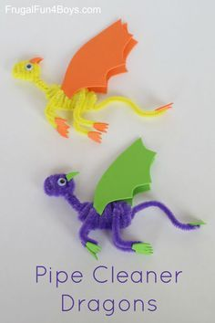 Cleaner Dragons Craft for Kids Here's a simple craft that kids will love – Pipe Cleaner Dragons!Here's a simple craft that kids will love – Pipe Cleaner Dragons! Craft Kits For Kids, Art Activities For Kids, Easy Crafts For Kids, Toddler Crafts, Crafts To Do, Projects For Kids, Art For Kids, Craft Projects, Arts And Crafts
