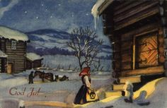 Kjell Aukrust Character Development, Christmas Cards, Christmas Postcards, Vintage Postcards, Norway, Scandinavian, Stamp, Painting, December