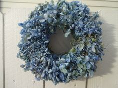 Blue Hydrangea Wreath  Dried Hydrangea Wreath  Hydrangea Wreath  Baby Blue Hydrangea Wreath   Shabby Chic  Natural Wreath Dried Wreath by donnahubbard on Etsy