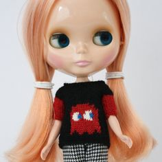 New to AnneArchy on Etsy: Blythe doll Clyde Sweater knitting PATTERN - cute videogame 80s retro ghost sweater - instant download - permission to sell finished items (5.00 USD)