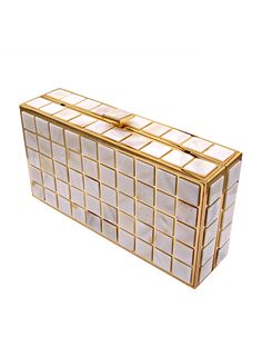 Mother of pearl clutch with golden color metal frame