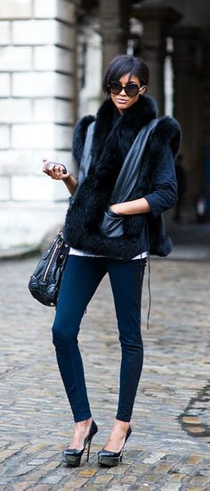 Leather and fur vest.  # another one !!! How to wear it!!!# fur