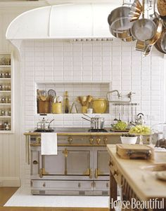 "The La Cornue range was handmade in France to designer Susan Dossetter's specifications. ""It's so beautiful, it's almost like jewelry for the kitchen."" Co-designed by Andrew Skurman."