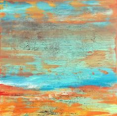 coastal art, midcentury art, abstract art, contemporary Abstract Art, surf, ocean, surfer, surfboard, beach art, beach decor, coastal decor, coastal, ocean art, circles, spheres, flowers, floral, jackson pollack, sunset, Ocean, modern, blue, orange, green