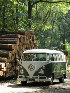 Looks like Spring! Green and white VW Bus