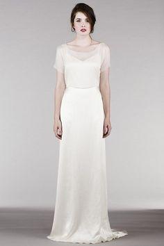 Sheath Poet-Sleeve Maxi Square-Neck Satin Wedding Dress With Keyhole