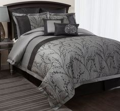 Amazon.com - Lush Decor Flower Texture 8-Piece Comforter Set, Queen, Silver - Duvet Sets