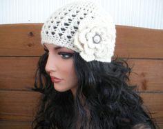 Womens Hat Crochet Hat Winter Fashion by creationsbyellyn on Etsy