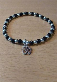 Sterling Silver & Onyx Bracelet with Ohm
