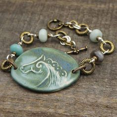 Horse bracelet blue green ceramic brass by laurelmoonjewelry