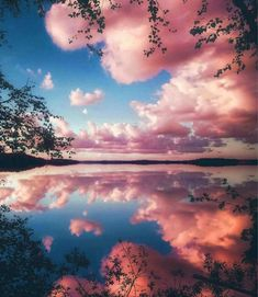 Pink clouds in lake water - Landscape Paint By Numbers – Numeral Paint Landscape Wallpaper, Landscape Paintings, Landscape Sketch, Aesthetic Backgrounds, Aesthetic Wallpapers, Wallpaper Backgrounds, Iphone Wallpaper, Beach Wallpaper, Landscape Photography