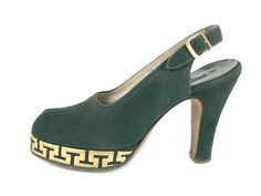 Green Suede Platform Shoes with Golden Greek Key Decoration along the Platform. Label: De Lisa Debs, via Shoe-Icons. Icon Shoes, Shoes Ads, Women's Shoes, 1940s Outfits, Vintage Outfits, Vintage Dresses, 1940s Shoes, Cinderella Shoes, Vintage Fashion 1950s
