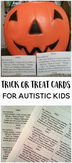 If you have a non-verbal child, you may know how difficult holidays like Halloween can be. Print out a set of these free trick or treat cards to help.
