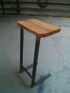 Industrial Live Edge Cherry And Steel Barstool Kitchen Stool