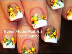 """Robin Moses Nail Art: """"yellow flowers"""" """"nail art"""" """"yellow nail art"""" """"yellow nails"""" """"yellow french manicure"""" """"yellow flower nail art"""" """"floral nail art"""" """"yellow tips"""" """"easy flower nails"""" """"summer flower nails"""" """"spring nail art"""" """"yellow zebra"""" Diy Neon Nails, Neon Nail Art, Floral Nail Art, Trendy Nail Art, Easy Nail Art, French Tip Nail Art, French Manicure Designs, Nail Art Designs, French Manicures"""