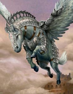 Wolves & Dragons, Fairies, Witches & Wizards and a little fantasy ~Mystique~ Mythical Creatures Art, Mythological Creatures, Magical Creatures, Fantasy Creatures, Horse Armor, Winged Horse, Fantasy Artwork, Fantasy World, Fantasy Characters