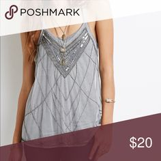 Forever 21 sheer gray sequined tank top New with tags. Similar to free people gypsy gatsby tank. Forever 21 Tops Tank Tops