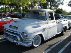 Old white truck 1957 GMC Pickup