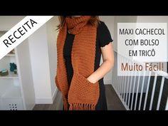 Maxi Cachecol em Tricô Knitting Yarn Diy, Beautiful Patterns, Couture, Knit Crochet, Short Sleeve Dresses, Diy Gifts, Clothes, Ainsi, Videos