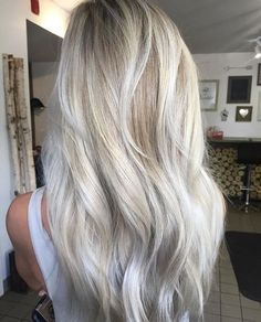 Stylish Hair Color Ideas for Fall - Balayage silver ash blonde