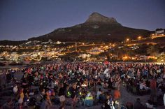 A superb image of the annual Moonstruck event on Clifton beach. That particular year people raised money for Bakoven Sea Rescue. How To Raise Money, Cape Town, Digital Image, South Africa, Dolores Park, Bucket, African, Sea, City
