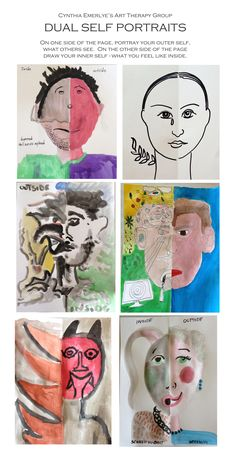Dual Self Portraits in Art Therapy