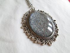 Gray & Black Glitter Nail Polish Pendant Necklace: 30x40mm Glass Oval in Antique Silver Scroll Edge Setting