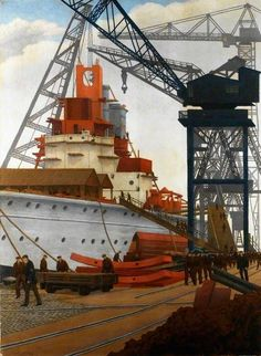 Building a Battleship (Charles Ginner - No dates listed)