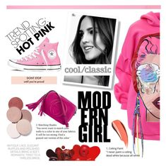 """""""Hot Pink"""" by yuurii ❤ liked on Polyvore featuring Gucci, Converse, LunatiCK Cosmetic Labs, contestentry and NYFWHotPink"""