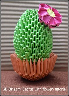 3D Origami cactus with flower - Tutorial • Art Platter