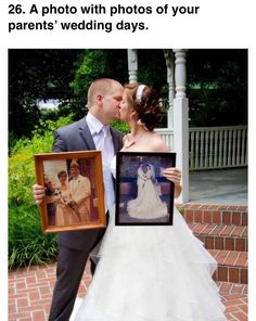 A photo with photos of your parents' wedding days. Wedding , A photo with photos of your parents' wedding days. A photo with photos of your parents' wedding days. Wedding Pics, Wedding Bells, Our Wedding, Dream Wedding, Wedding Dresses, Trendy Wedding, Fall Wedding, Wedding Cameras, Wedding Themes
