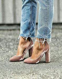 distressed jeans + velvet heels