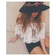 Off-shoulder White Lace Babydoll Crop Top paired with Black Crocheted Lace Shorts. LOVE the hat!